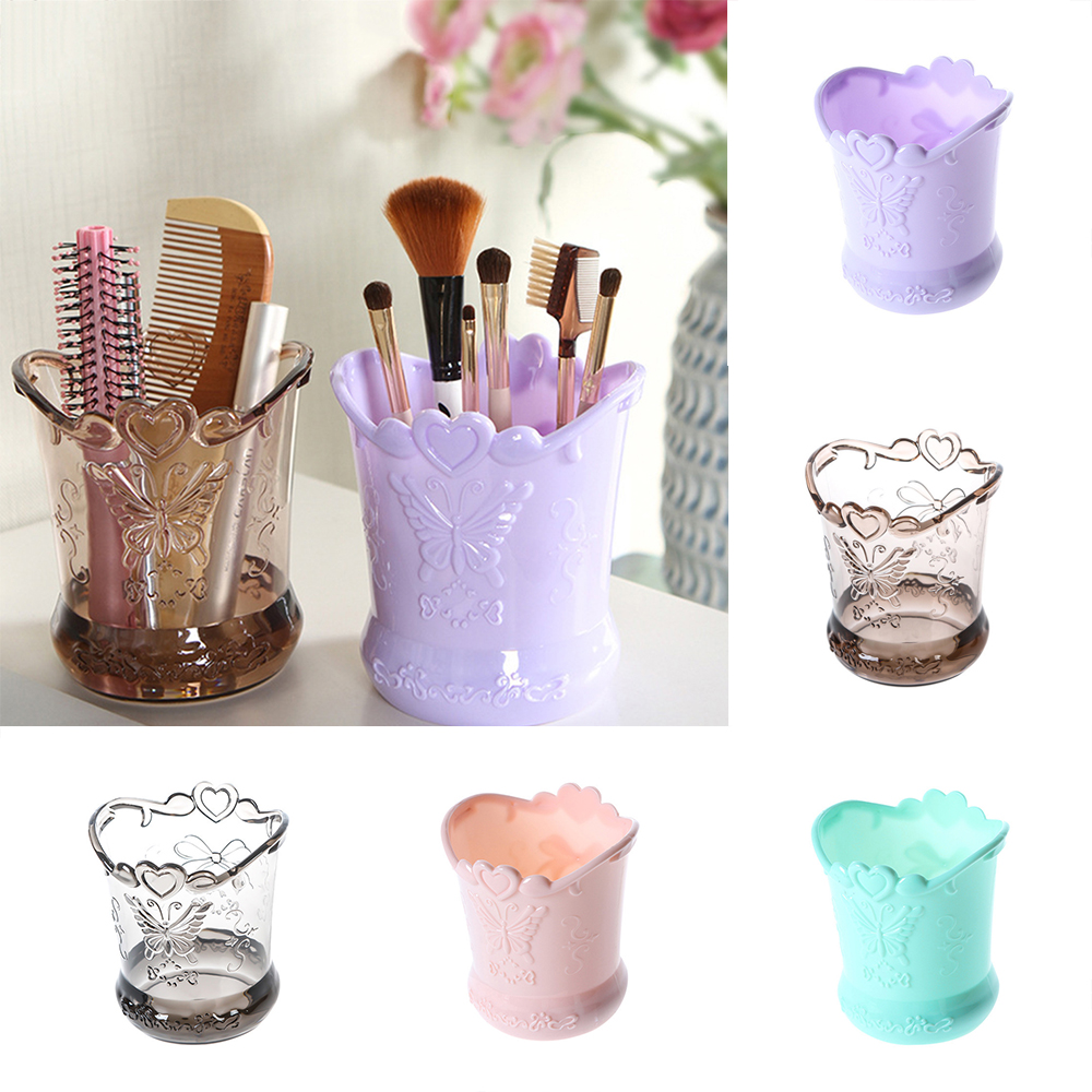 European large round makeup brush tube cosmetic storage box barrel desktop storage tube brush tube pen holder Rose Butterfly