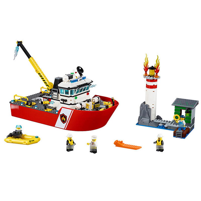 Genuine BELA 10830 450Pcs City Fire Boat Ship Rescue And Salva Building Block Toys Gift For Children Compatible <font><b>60109</b></font> image