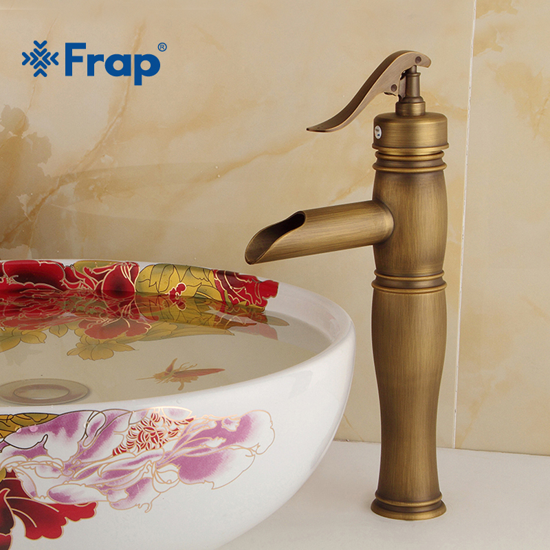 FRAP Brass Bathroom Faucets Mixer Tap Antique Basin Faucet Single Handle Hot and Cold Water Faucet Torneira do Banheir Y10075 frap modern style free shipping basin faucet cold and hot water mixer torneira da bacia single handle black white basin faucets