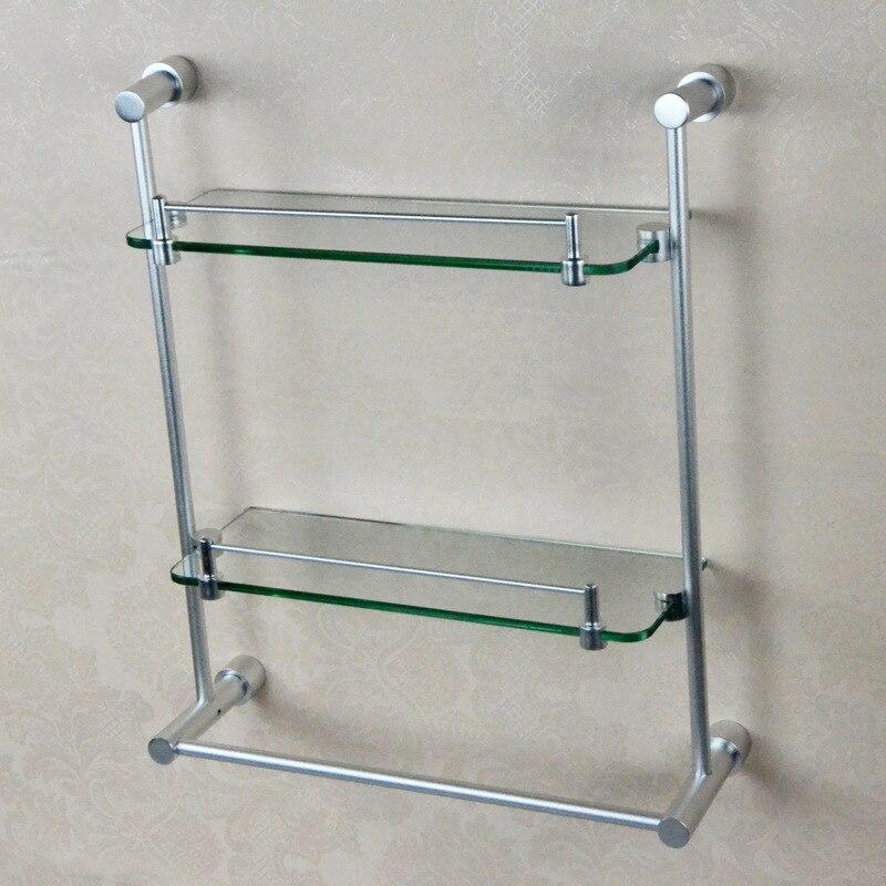 spedizione gratuita bagno in alluminio spazio doppia mensola di vetro bagno bagno ciondolo con barra di