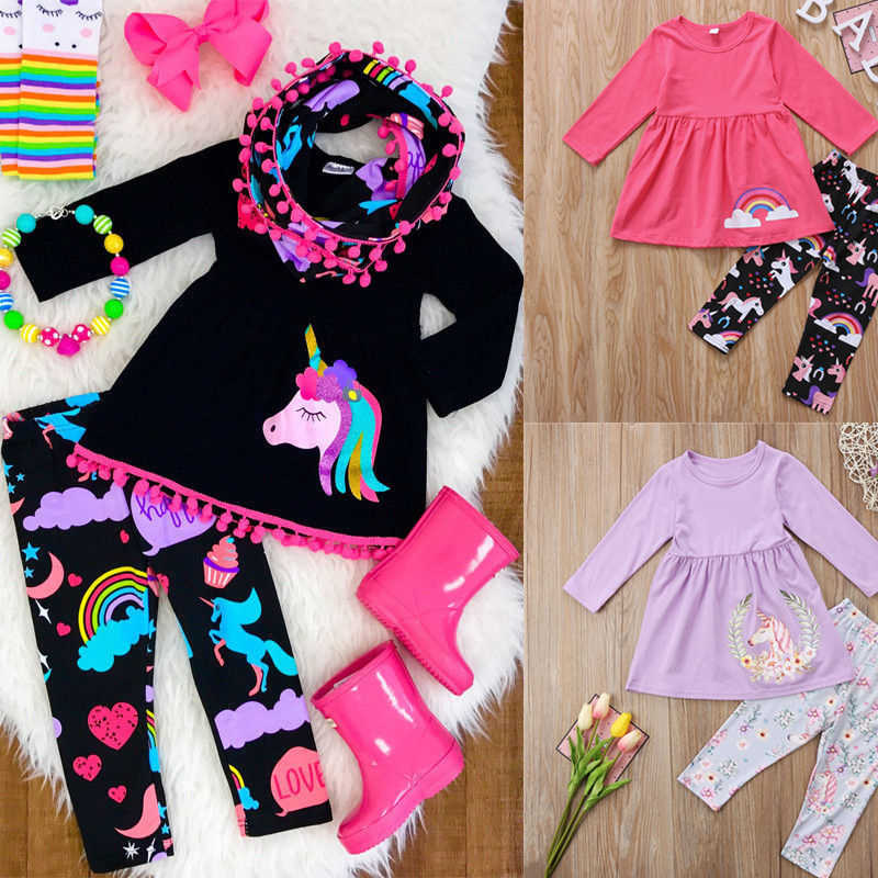 ddee4dd9eb8a5 Unicorn Girls Clothing Sets Family Clothes Sets Kids Baby Girls Outfits  Clothes Long Sleeve T Shirt Top+ Leggings Children 2Pcs