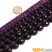 AAA Grade Round Faceted Purple Amethyst Precious Stone Beads Natural Stone Beads Loose Beads For Jewelry