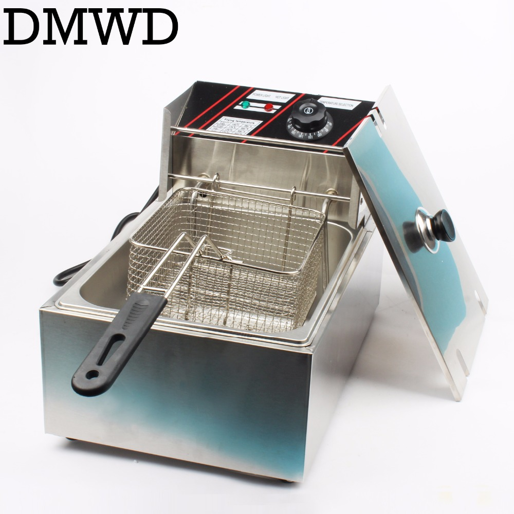 Electric deep fryer Multifunctional Household Commercial Stainless steel Grill Frying pan French fries machine hot pot 6L 2.5kw commercial 5l churro maker machine including 6l fryer