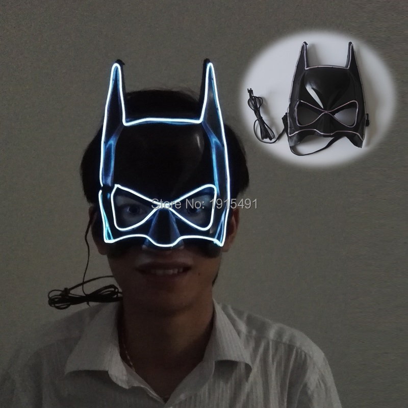 Arts and Crafts Party Holiday Lighting EL Wire Superhero Batman Mask Character Play Neon Led Fancy Cartoon Mask New Year Day Bar
