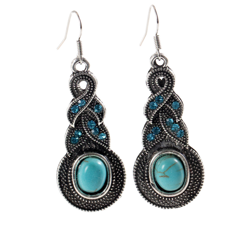 Exotic fashion jewelry - 2017 Tear Tibetan Silver Turquoise Vintage Exotic Drop Dangle Fashion Earrings Wholesale Jewelry For Girls