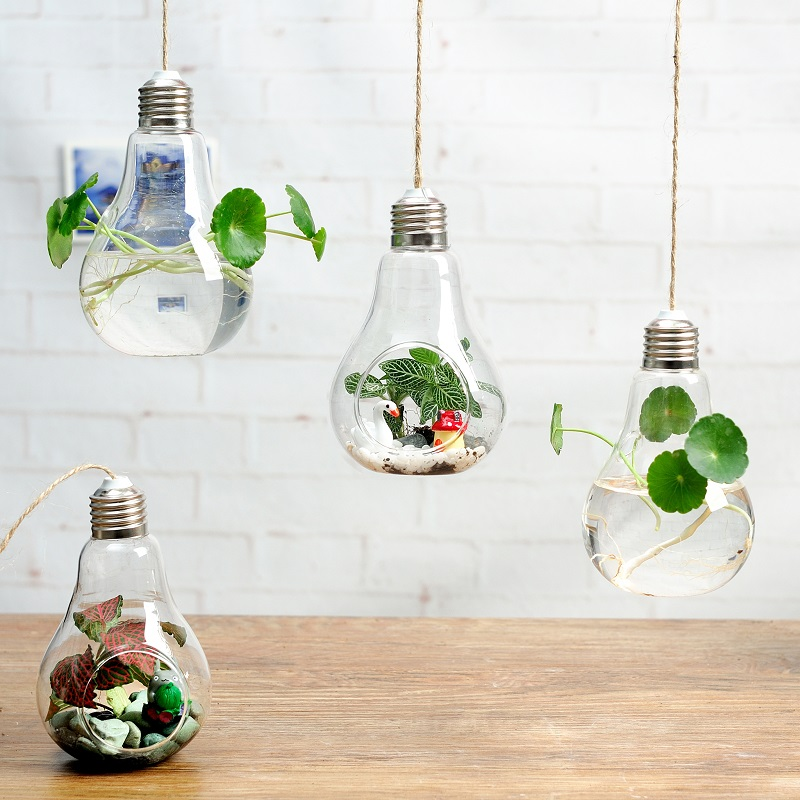 buy hanging glass bulb lamp shape flower water plant vase artificial plant. Black Bedroom Furniture Sets. Home Design Ideas