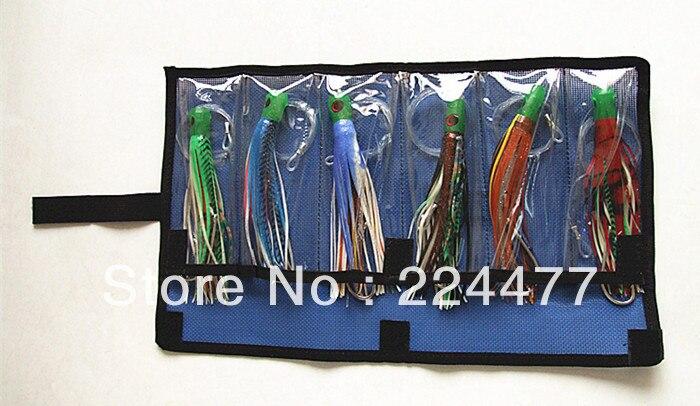 Livraison gratuite-6.5-7.5 pouce 3 taille pieuvre jupe jeu leurres thon leurres pêche à la traîne attirail souple appât PP tête souple avec crochet l