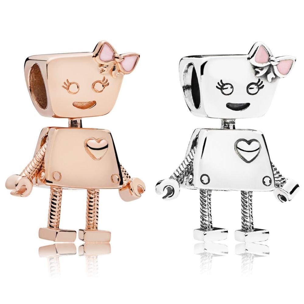 KAKANY PANDORES 100% 925 Sterling Silver Rose Bella Bot Robot Charm DIY Gift Ladies Charming Gift Free shipping