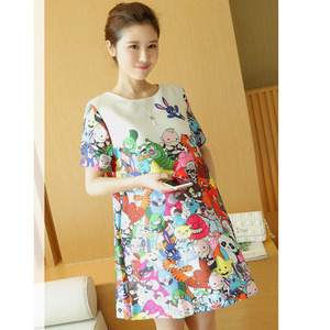 Image 1 - Print Cartoon Animal Maternity Dresses For Pregnant Women Clothes Pregnancy Dress Vestidos Maternity Clothing Mother 2019 Wear