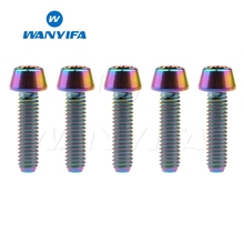 Wanyifa 5Pcs M4x8 15 20mm Conical Head Titanium Bolt Screw for Bicycle Brake Bike Refit