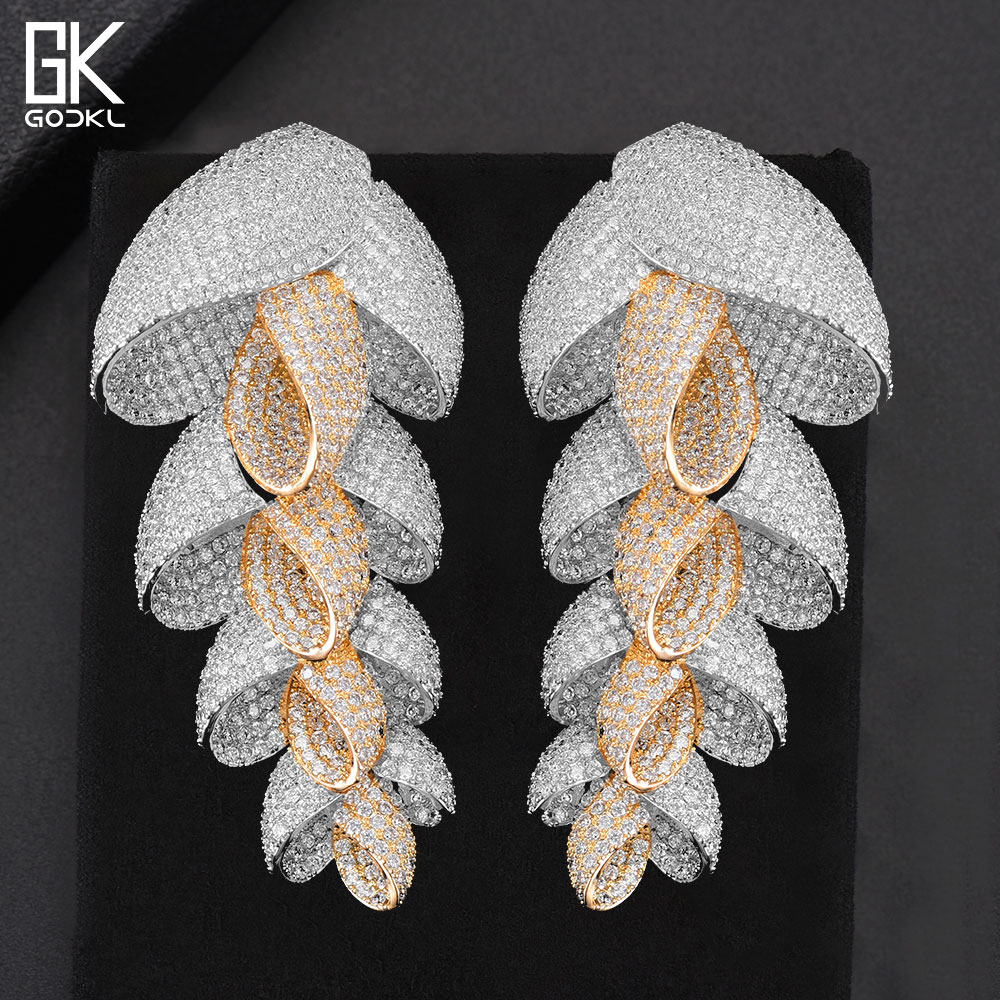 GODKI New Trendy Luxury Feather Leaf Nigerian Long Dangle Earrings For Women Wedding Zirconia Crystal CZ Indian Bridal Earrings vintage beads feather leaf sweater chain and a pair of earrings for women
