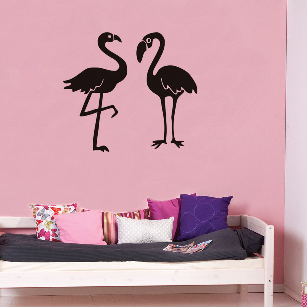 Two Flamingo Wall Stickers Home Decor living Room Large Birds Wall Stickers For Kids Room Baby Nursery Wall Decals Muraux SA135B