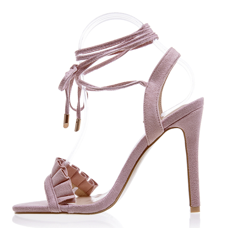 Sexy Women Shoes Ruffle High Heels Cross Strappy Sandals
