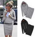 Autumn Women Thin Casual Hoodies Skirt Long-sleeve Sweatshirt Slim  Suit Tracksuits Coat +Skirts 2 Pcs Sets Moletom
