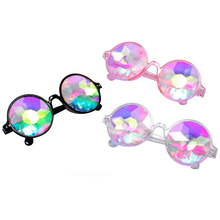 10pcs Black Kaleidoscope Glasses,3D Rainbow Rave Prism Diffraction,Round