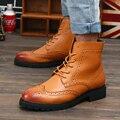 2016 hombres de La Moda Martin Botas de Estilo Británico Botas Brogue Zapatos de Los Hombres de Oxford Zapatos para Hombres de Cuero Botas de Tamaño: 39-44 5539