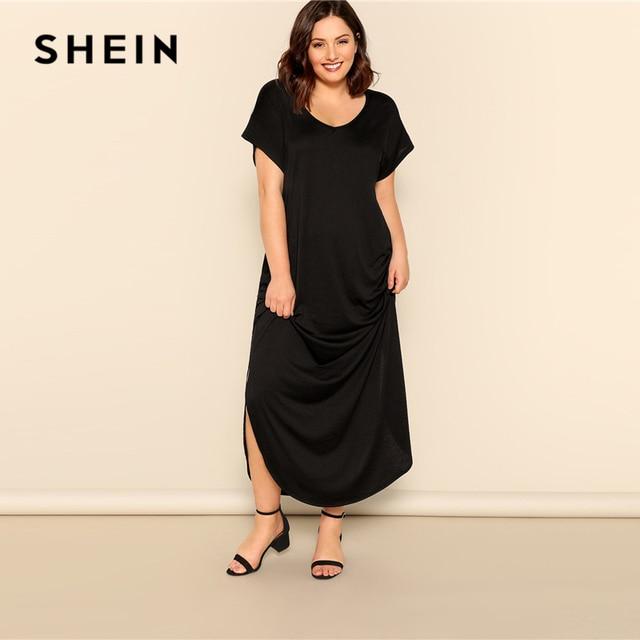 SHEIN Plus Size Black Slant Pocket M-Slit Hem Maxi Dress 2019 Women Summer Casual Pocket V neck Short Sleeve Solid Long Dreeses 3