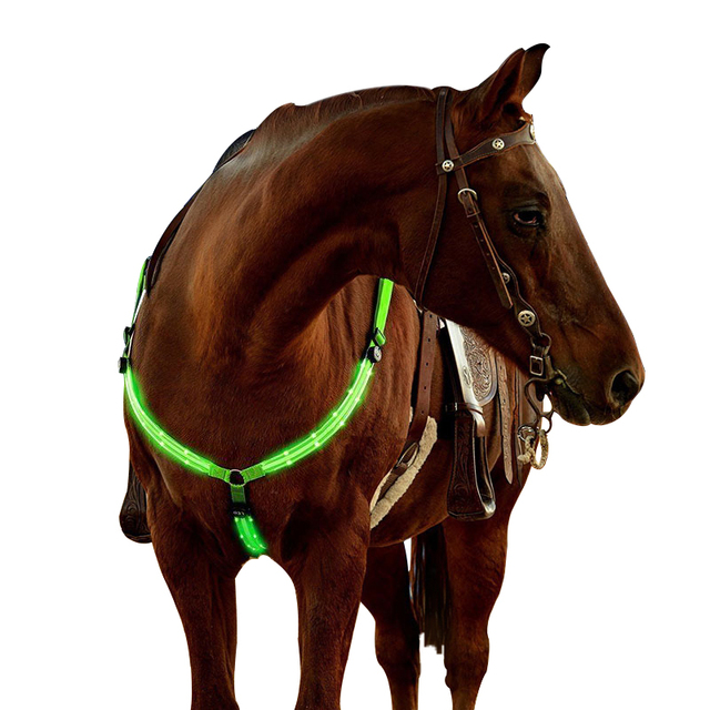 Adjustable LED Horse Chest Belt Harness Nylon Night Visible Breastplate Riding Equipment Racing Equitation Chest Belt