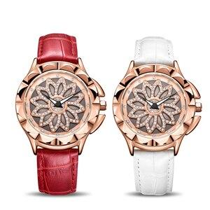 Image 4 - MEGIR Luxury Women Watches Fashion Rotated Dial Ladies Quartz Watch Red Leather Lovers Girl Wristwatches Clock Relogio Feminino