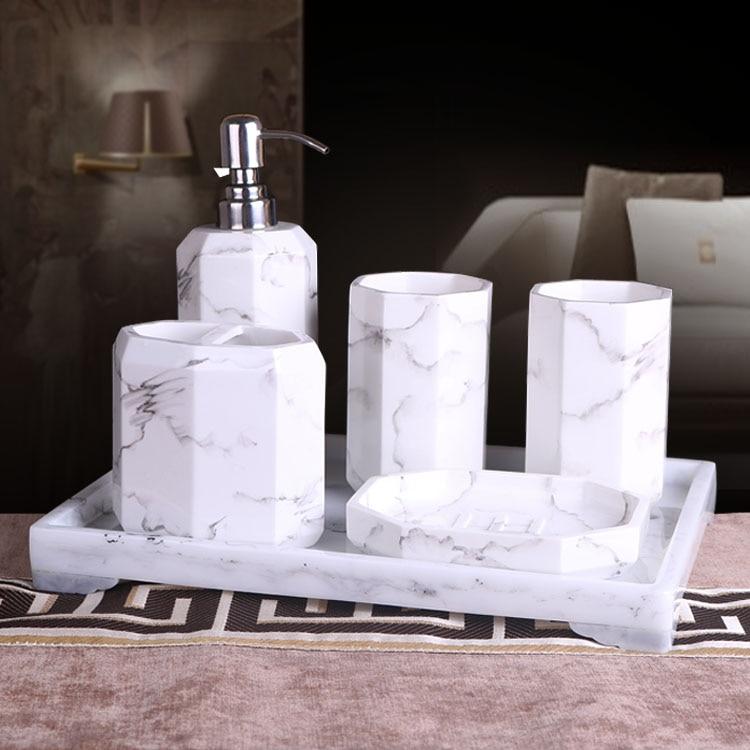 5 или 6 шт. краткое чернил ванная комната соучастником набор мраморный дизайн смолы набор для ванной комплект поставки мыть чашки свадебные подарки стирка комплект