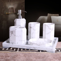 5 Or 6 Pcs Brief Ink Bathroom Accessary Set Marble Design Resin Bathroom Set Supplies Kit
