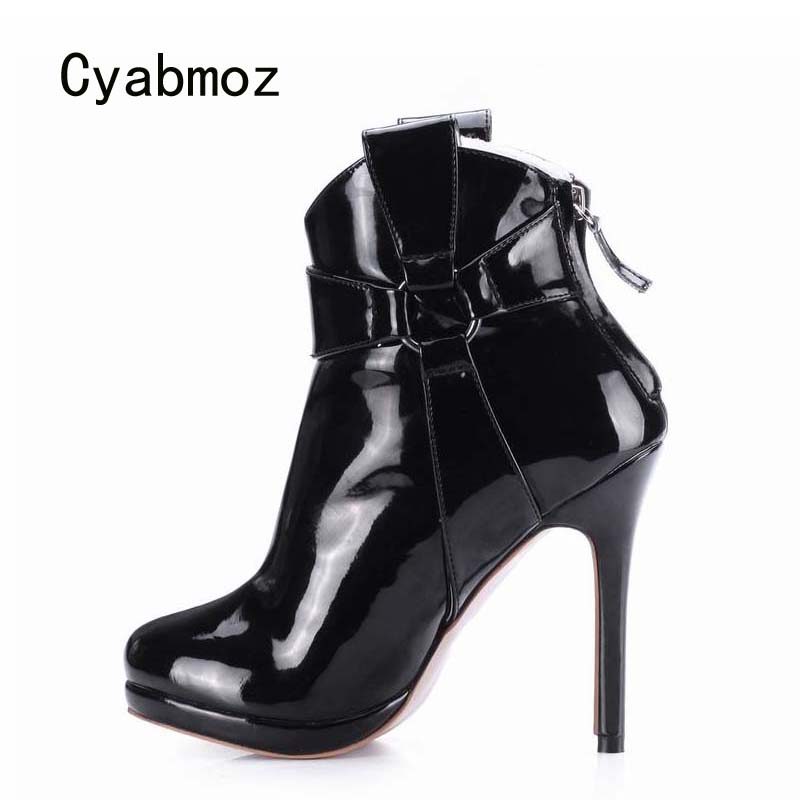 B A Black Party Hiver Zapatillas Bottes Rond Mujer Femmes Zapatos Chaussures Femme forme Talons Cyabmoz black Botas Plate Cheville Sexy Club Bout Hauts O4R4Bq