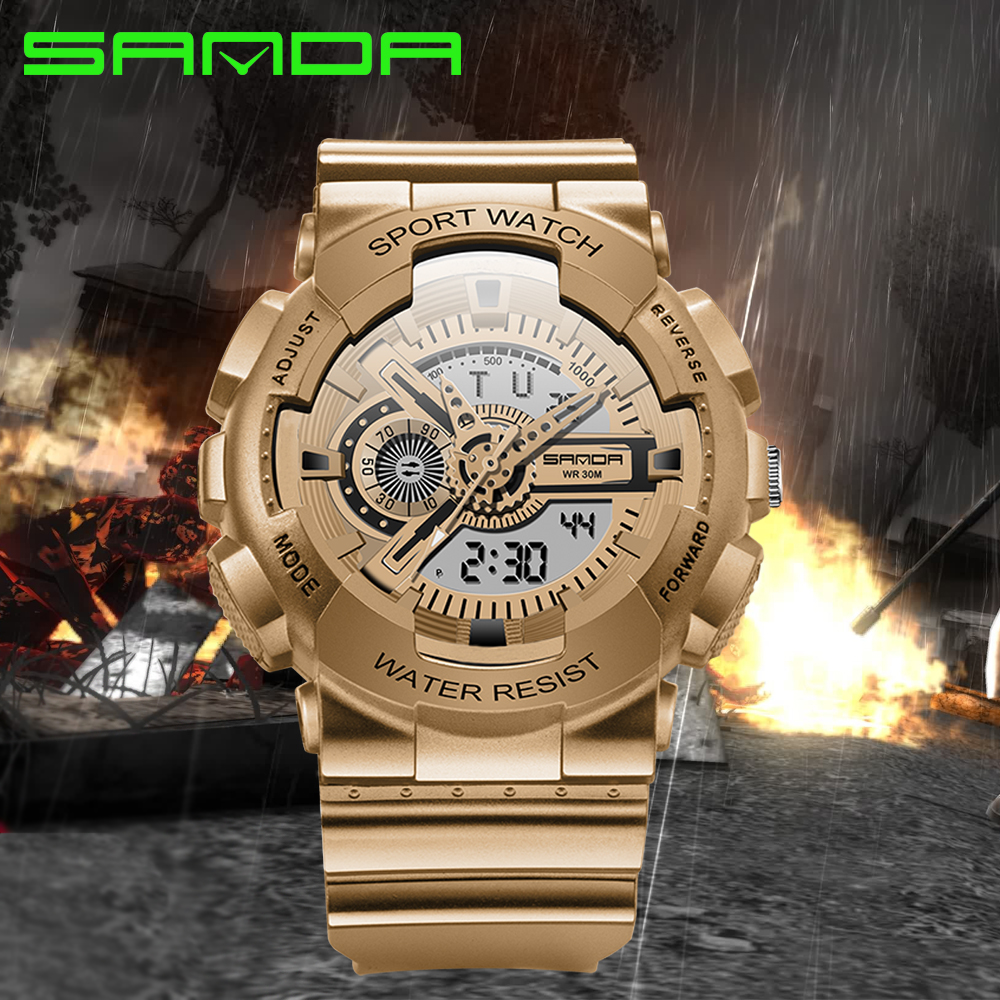 2016 SANDA Brand Fashion Watch Men G Style Army Military Shock Wristwatches Luxury Analog Digital Sports Watches relojes hombre smael 1708b