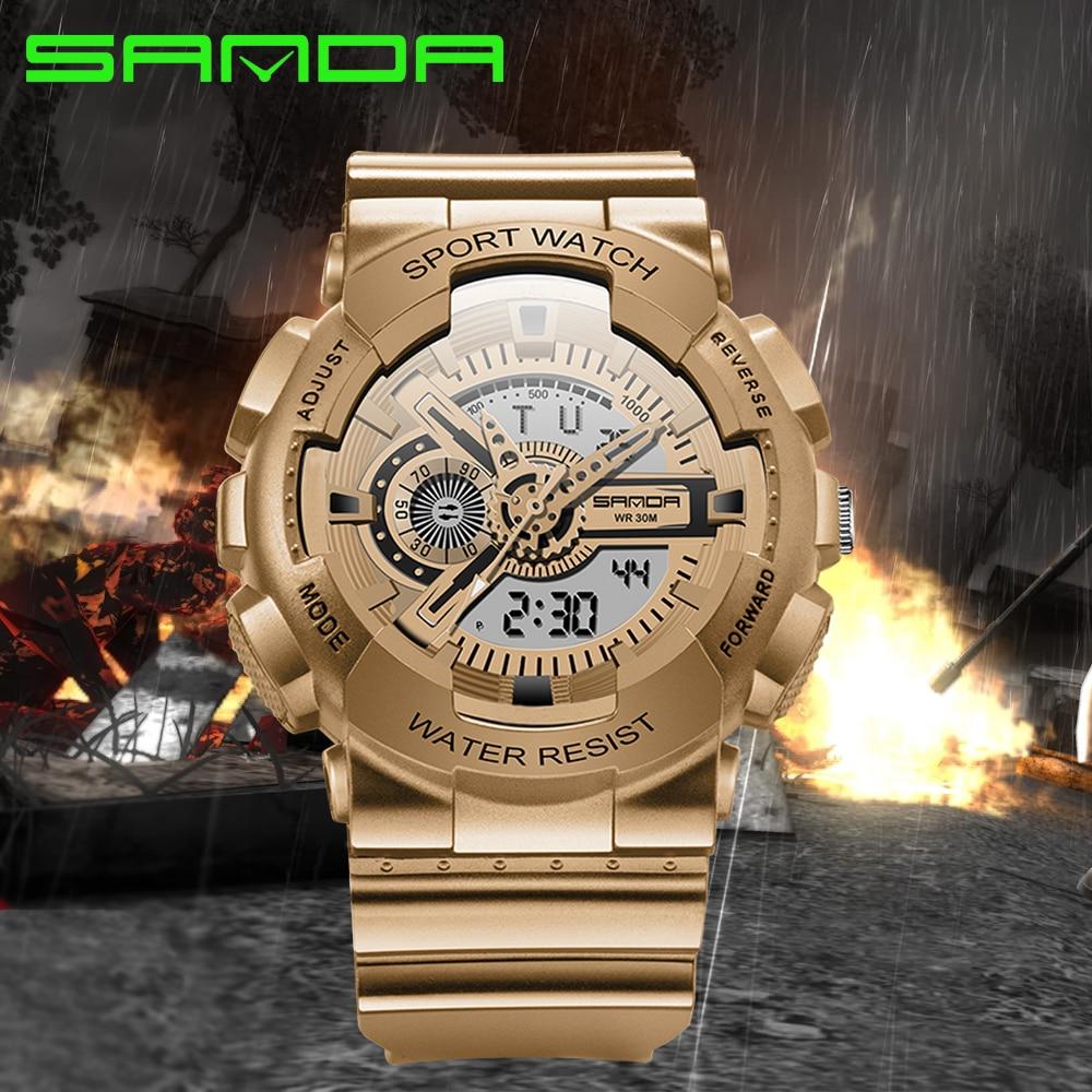 2016 Sanda Marke Mode Uhr Männer G Stil Armee Military Schock Armbanduhren Luxus Analog Digital Sport Uhren Uhren Hombre