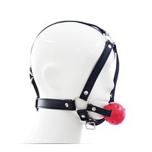 PU Leather head harness bondage open mouth gag restraint red silicone ball adult fetish oral sex game toys for women men couple
