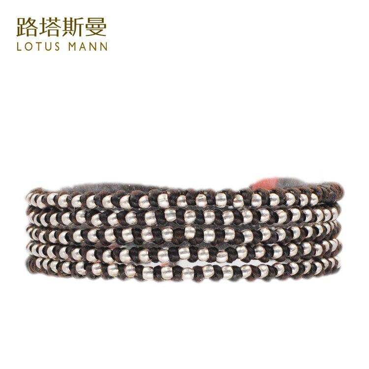 Lotus Mann 925 silver bead weaving 5 turn brown wax rope king kong knot bracelet layered rope bead bracelet