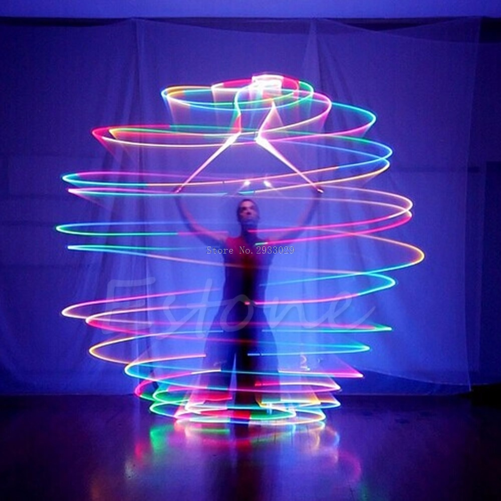 Pro LED Multi-Colored Glow POI Thrown Balls Light Up For Belly Dance Hand Props -B116