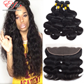 Cheap Peruvian Virgin Hair Body Wave With Closure 4 Bundles With 13X4 Full Lace Frontals Vishine Hair With Lace Frontal Closure