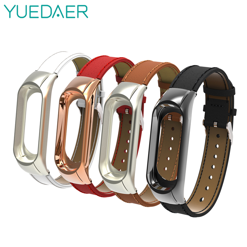 Yuedaer For Xiaomi Mi Band 3 4 Fitness Tracker Colorful Leather Mi Band 4 3 Strap Black Gold Case Fashion Bracelet Wristbands
