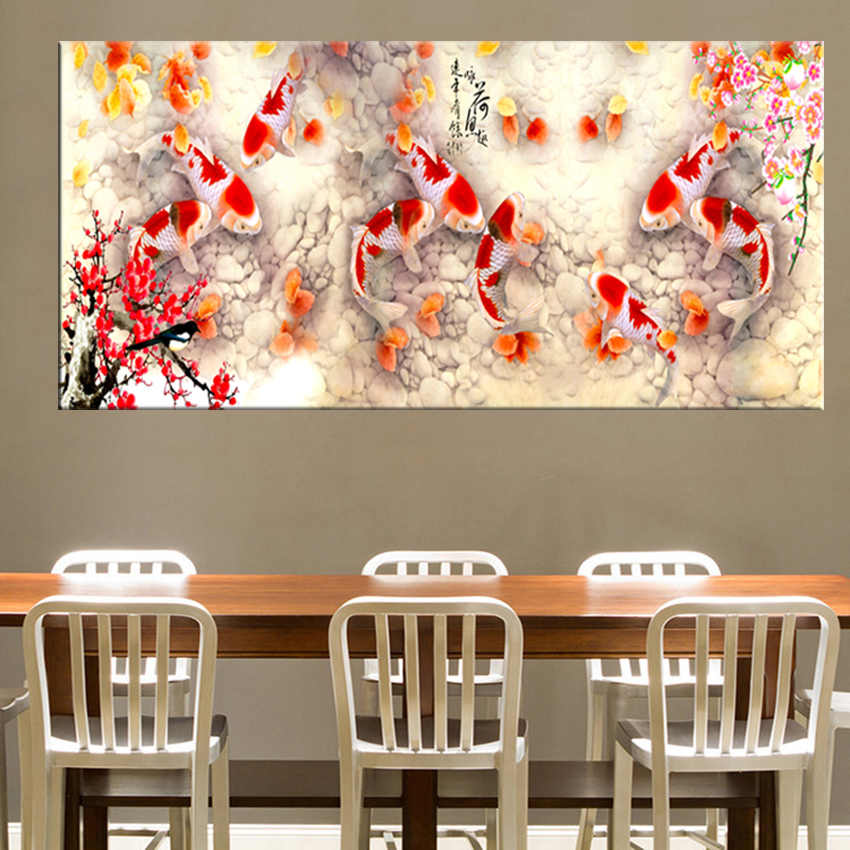 Print Chinese Abstract Nine Koi Fish Lotus Oil Painting on Canvas Poster Feng Shui Wall Art Picture For Living Room Home Decor