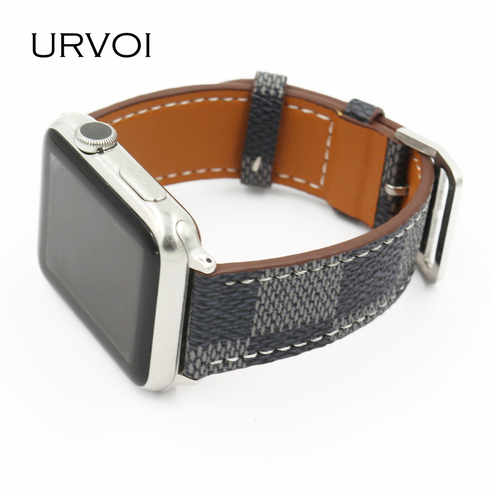 URVOI band for apple watch series 4 3 2 classic checkered pattern style leather strap for iwatch comfortable feel fashion design
