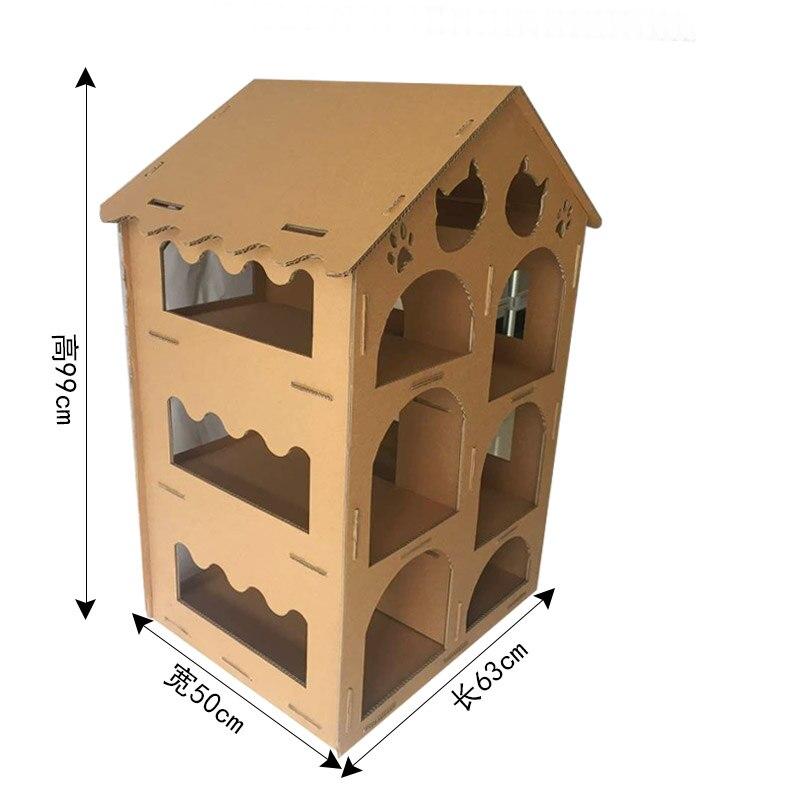 Chat de luxe jouer maison étagère chats produits pour animaux de compagnie gratter post carton chat scratcher papier meubles assembler