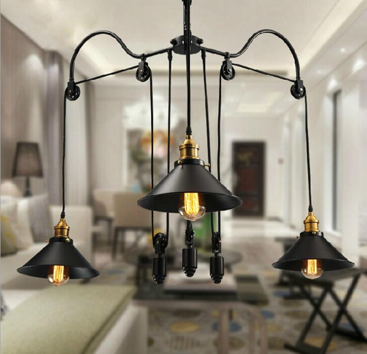 Us 193 21 Off Loft Style Vintage Lighting Pulley Pendant Lights 3 Lamps Island Foyer Pendants Dinning Study Room Metal In