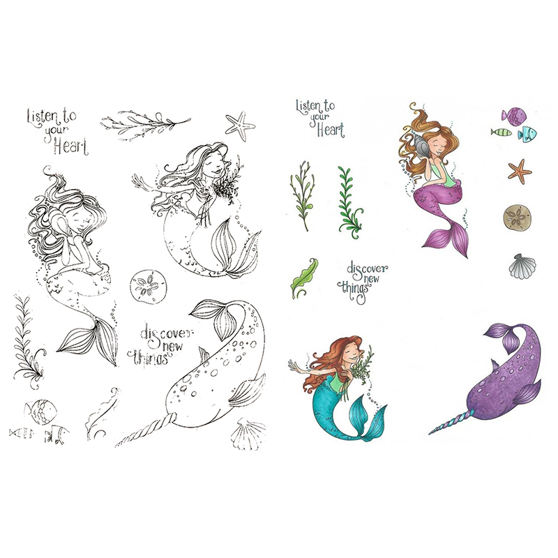 Mermaid Live With Narwhal Transparent Silicone Clear Stamps Stencil DIY for Scrapbooking Photo Album Embossing Decorative Crafts