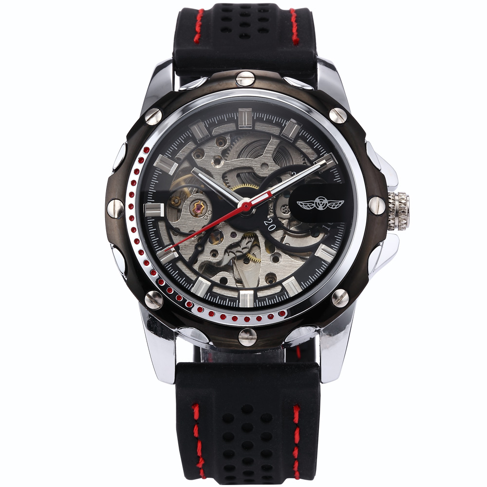 WINNER Stainless Steel Silver Case Men Skeleton Automatic Mechanical Black Rubber Silicone Band Sport Running Gift