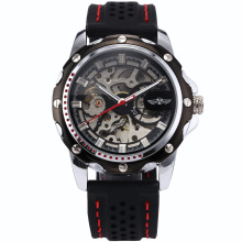 WINNER Stainless Steel Silver Case Men Skeleton Automatic Mechanical Black Rubber Silicone Band Sport Running Gift Watch/ PMW081
