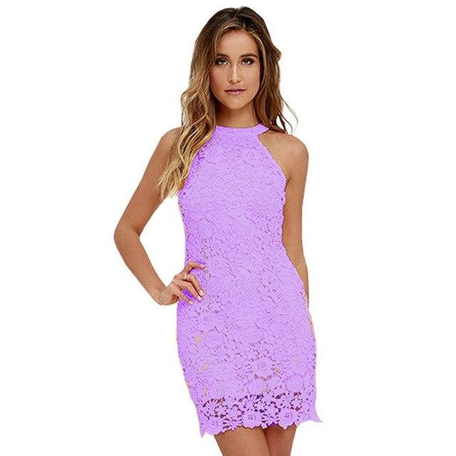8a14da38678113 Frauen Elegante Hochzeit Kleider 2017 Sexy Nachtclub Neckholder Sleeveless  Mantel Bodycon Kurze Spitze Kleid