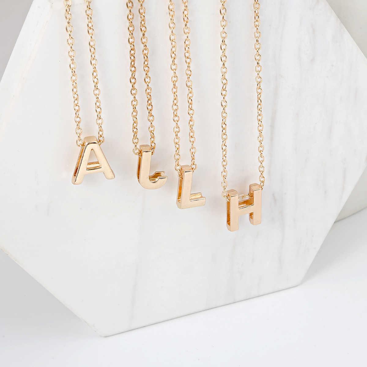 Encantos Iniciais de Ouro da moda Colar de Pingente de Letras De Metal Para A Jóia Personalizada Bonito Letras Único Colares Corrente de Ouro
