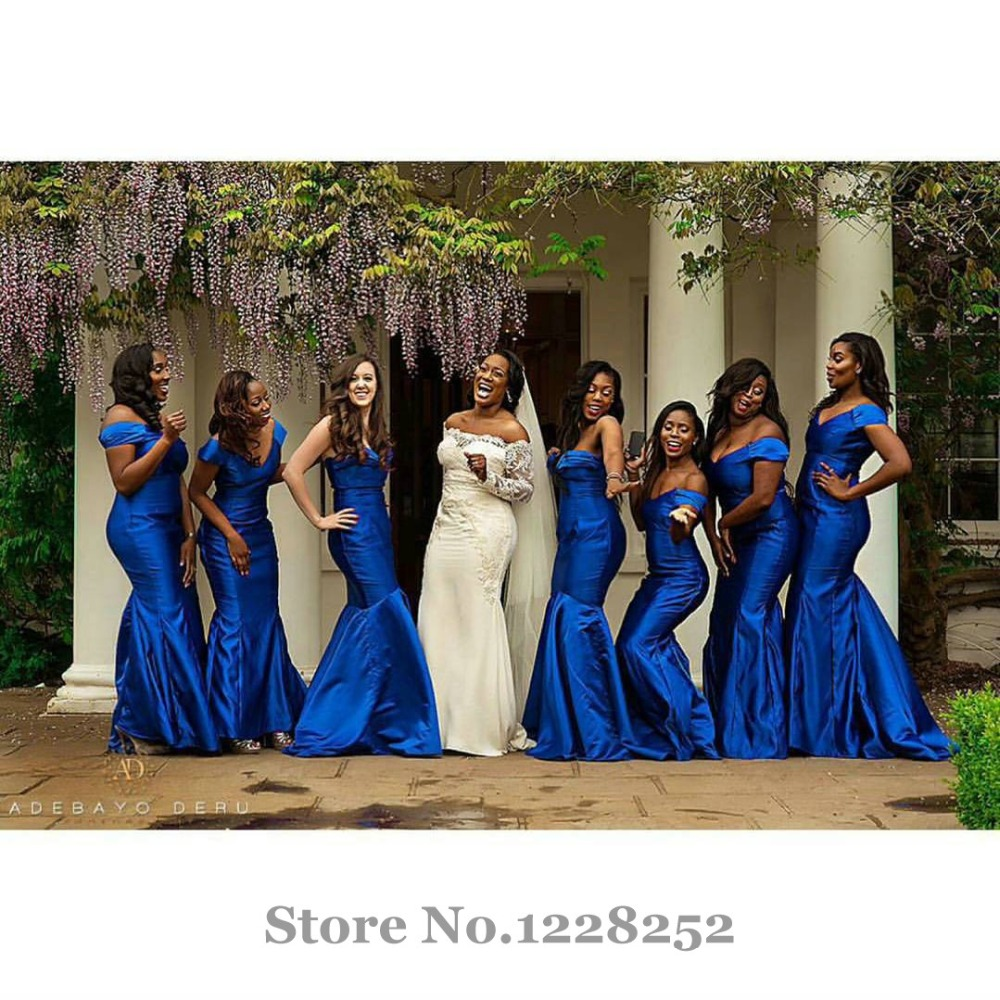 Gorgeous royal blue bridesmaid dress mermaid v neck off the gorgeous royal blue bridesmaid dress mermaid v neck off the shoulder taffeta plus size beautiful bridesmaid dress floor length in bridesmaid dresses from ombrellifo Gallery