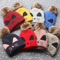 Baby Accessories Children Pink Blue Cartoon Knitted Autumn Winter Warm Baby Cap Kids Baby Hat Scraf