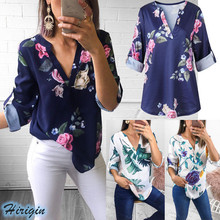 Summer Women Casual Tops HOT Long Sleeve V-Neck Loose Floral Leaf Print T-Shirts