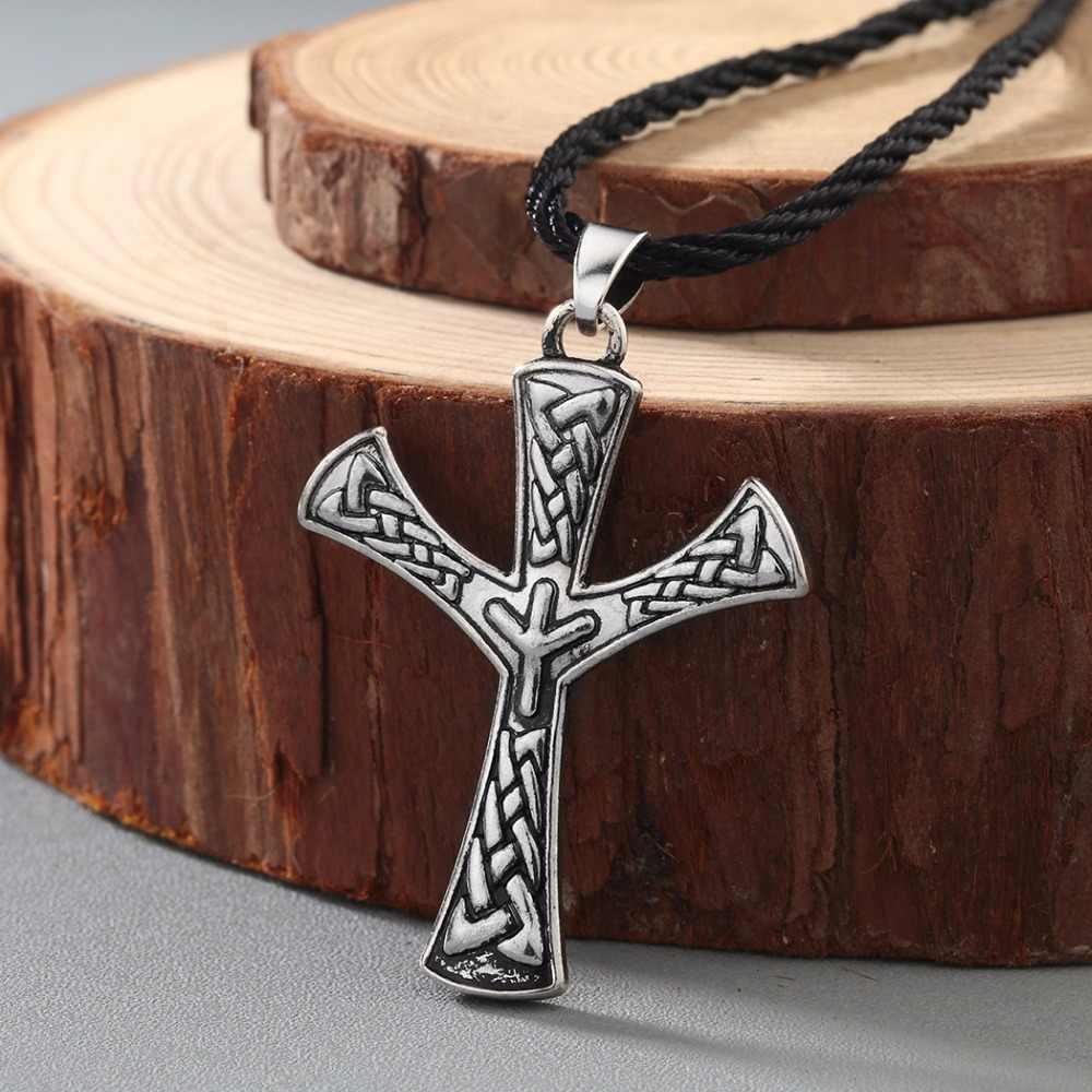 QIMING Algiz Rune จี้ Elhaz Amulet Nordic ไวกิ้งเครื่องประดับสแกนดิเนเวีย Norse Pagan ป้องกัน talisman เครื่องประดับ Celtic