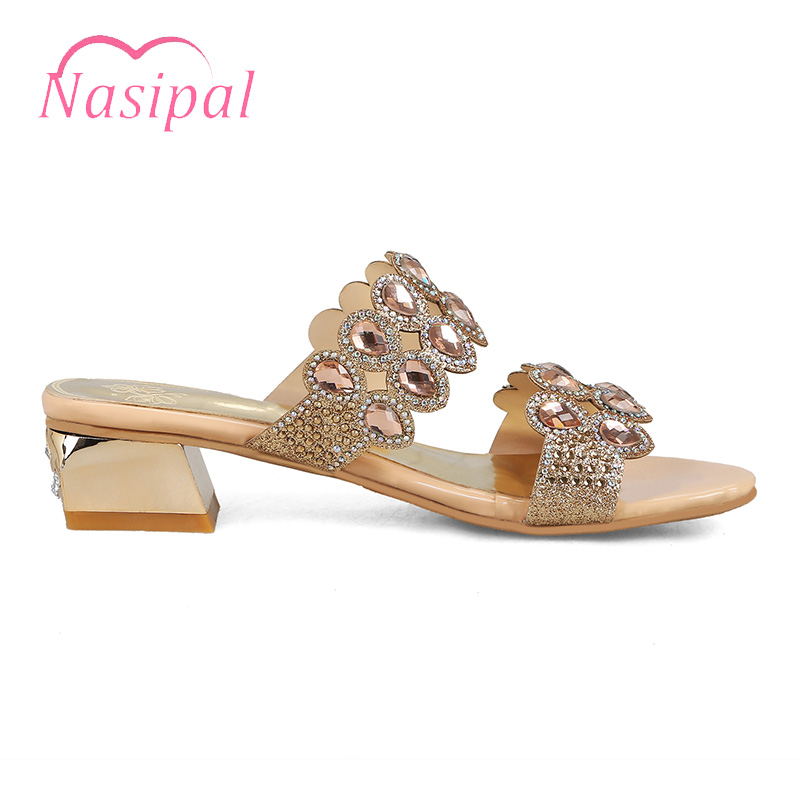 Cristal Talons Nasipal forme Mode Femme 2018 Gladiateur Bling Chunky De or Casual Plage Sexy C442 Plate Sandales Or Bleu Nouvelle Chaussures zPPdwn