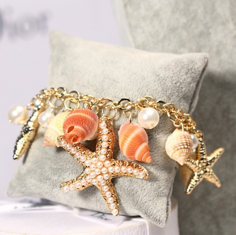 Min. order 10USD(mix order) SPX4313 New 2014 Fashion Charms Chain Ocean Starfish Shell bracelets bangles Jewelry