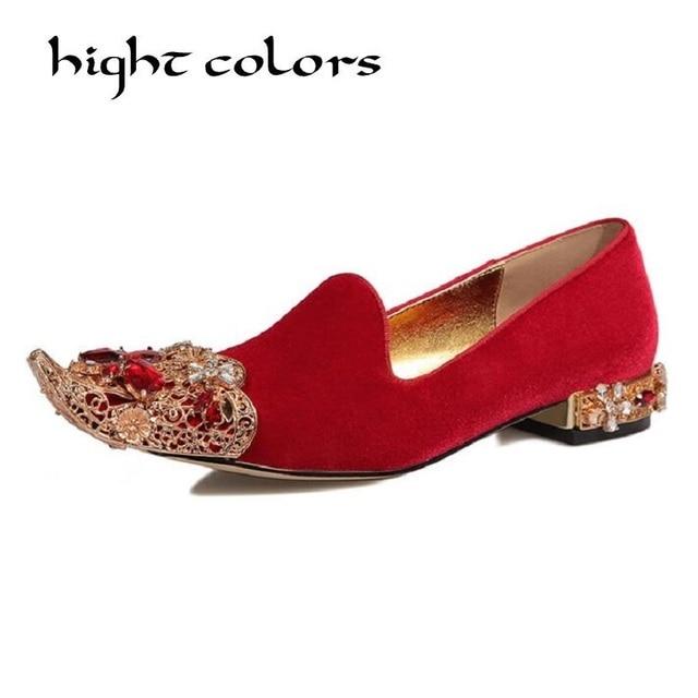 80b675520d0ab 2018 Spring New European Style Women s Suede Pointed Toe Flats Wedding Shoes  Rhinestone Handmade Custom Hollow Metal Art Shoes