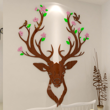 2018 new Sika deer, acrylic 3D, three-dimensional wall, room, living sofa, background wall decoration stickers.